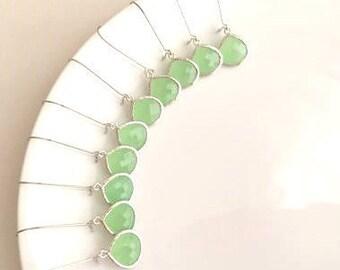 10% OFF SET of 5 Wedding Jewelry Silver Mint Drop Earrings, Mint Green Earrings, Bridesmaid Earrings, Bridal Earrings,Wedding Earrings,Green