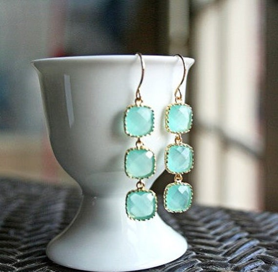 Gold Mint Earrings. Light Mint. Mint Green Earrings. Seafoam. Bridesmaid Earrings.Wedding Earrings.Bridal.Bridesmaid Gift.Bridal Jewelry.Mom