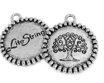 Silver Charms : 10 Antique Silver Tree of Life Charms / Silver Life String Pendants ... 24x28mm ... Lead, Nickel & Cadmium Free  14907.J6G