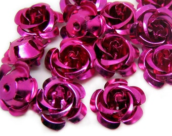 Flower Cabochon Beads : 25 pieces 14mm Bright Pink Vintage Style Aluminum Rose Beads | Fuchsia Flower Cabochons -- 012.G6