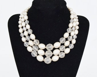 Vintage Triple-Stranded Necklace with Frosted Faux Pearls and Plastic Clear Beads