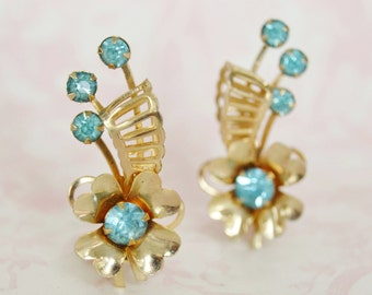 Vintage Clip-On Earrings of Four Leaf Clovers and Light Blue Rhinestones