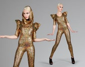 Signature Catsuit in Holographic Gold, Spandex Leotard, Burning Man Costume, Dance Stage Wear, Music Video, Aerial Silks, by LENA QUIST