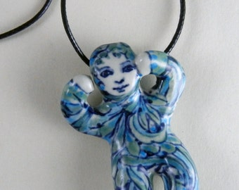 Little porcelain doll necklace pendant OOAK in blue and green