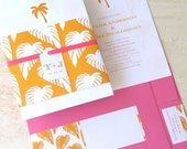 RESERVED for Stephanie - Palm Tree Wedding Invitation - Beach Wedding Invite -Tropical Destination Wedding - Belly Band Invite