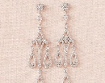 Crystal Bridal Earrings, Long Wedding Earrings, Chandelier Bridal Earrings, Swarovski,  Sienna Bridal Earrings