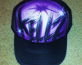 Airbrush Trucker Hat With One Word Name/ One Color, Airbrush Trucker Hat, Custom Airbrush Hat, Airbrush Hat, Airbrush, Trucker Hat, Airbrush