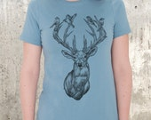 Deer With Birds in Antlers - Women's Organic Cotton T-Shirt - American Apparel Women's Relaxed Fit T-Shirt