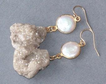 Genuine Champagne Druzy & Pearl Earrings,Bridal Earrings,Ivory,Coin Pearl,Bezel Gemstone,Drusy,OOAK Gemstone Drop,14K Gold Filled,OOAK