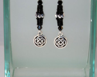Black & Silver Celtic Knot Earrings - OOAK Seed Bead Earrings - Beadwoven Earrings - Dangle Style