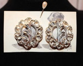 Large Silver Scrolls Vintage Sarah Coventry Clip On Earrings