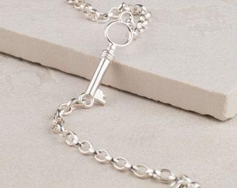 Silver Key bracelet - key bracelet - sterling silver bracelet - antiqued bracelet - oxidised bracelet - WOODWICK