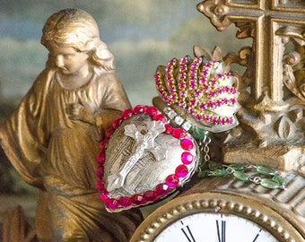 Gorgeous Ex Voto Sacred Heart, Hinged, Opens to Secret Compartment,