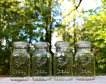 4 Ball Ideal CLEAR Quart Jars w/ Glass Lids & Metal Bail Closure ~ Kitchen and Pantry Storage ~ Farmhouse ~ Country - INSURANCE w/ Shipping
