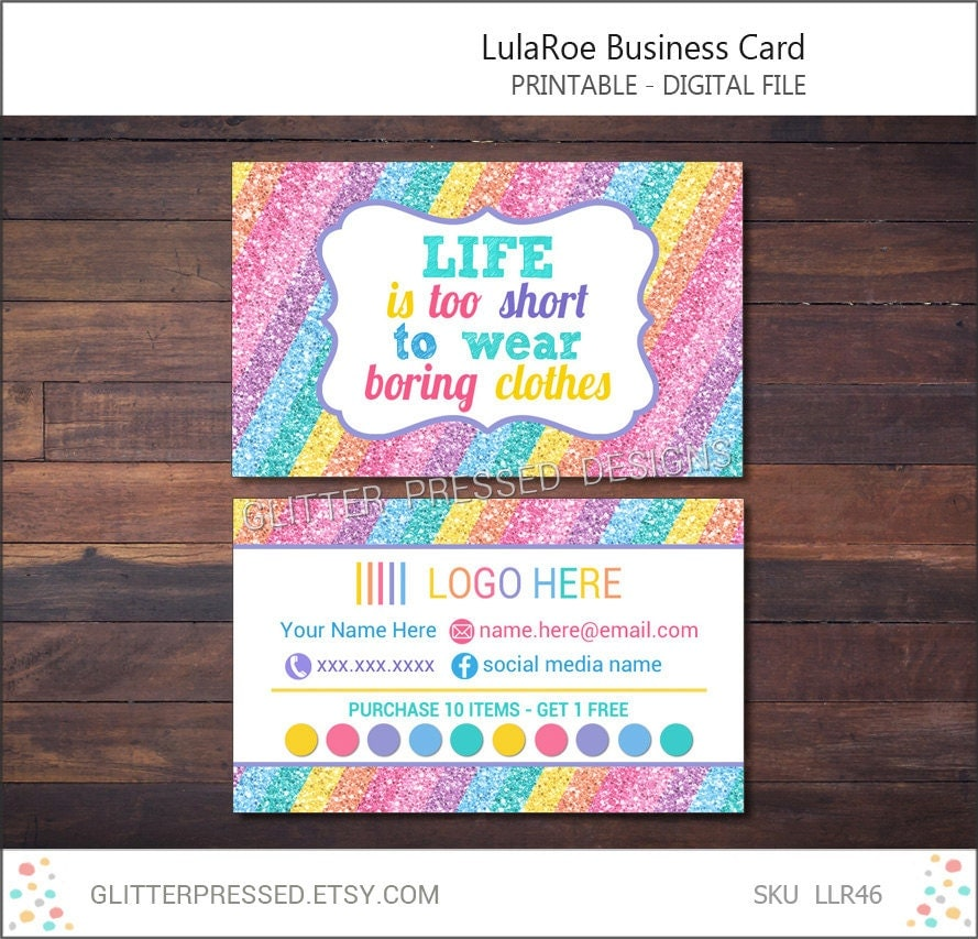 Lularoe business card personalized printable by glitterpressed for Lularoe business card ideas