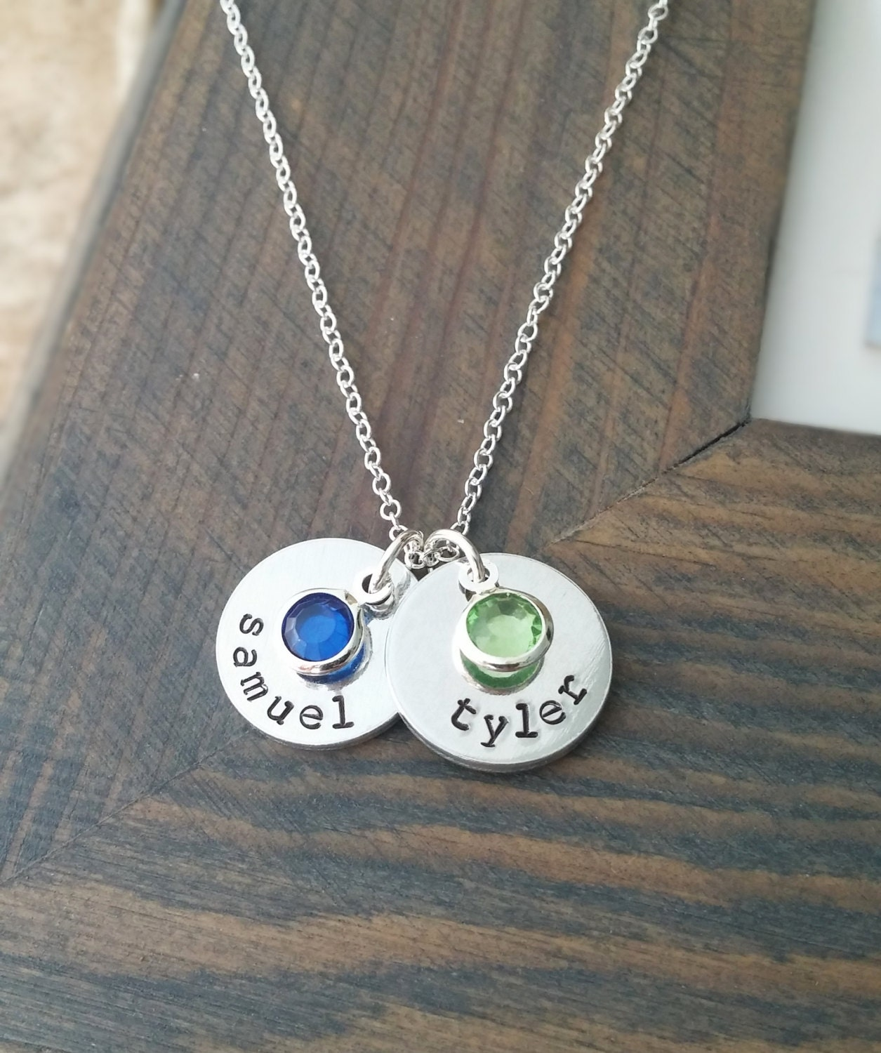 kids names necklace personalized with two by