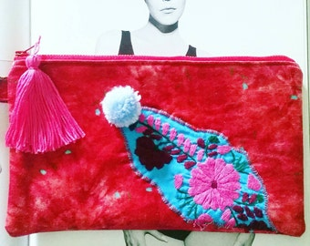 boho pouch cosmetic bag tassel bagpompom clutch red and turqoiuse handbag