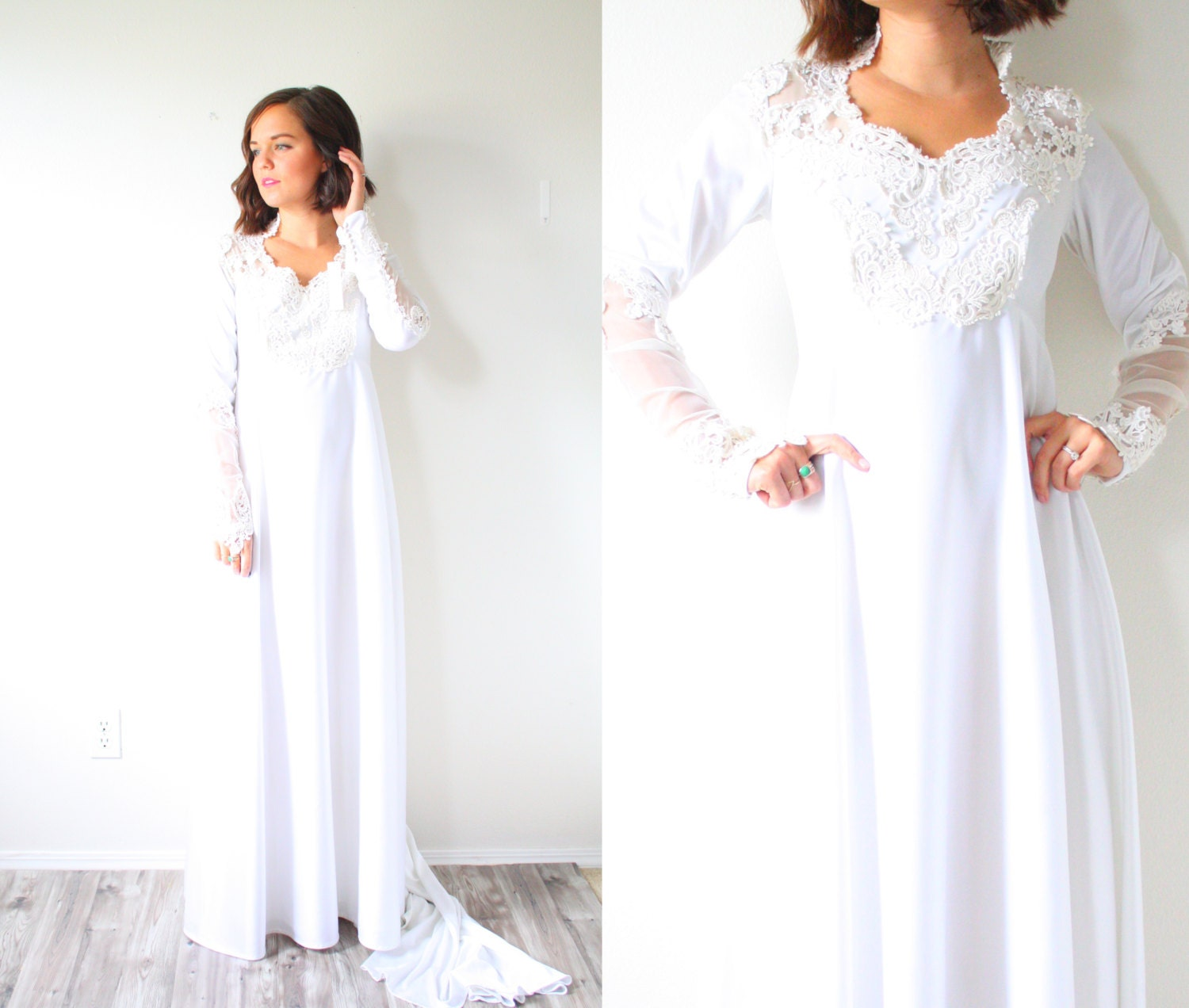 Vintage Wedding Dress Long Sleeve Lace Cathedral Modest