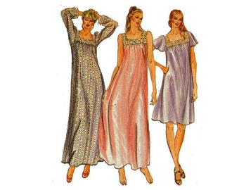 Easy to Sew Nightgown feminine Nightie Sewing Pattern Size Small Butterick 3559 Fast and Easy 1980s Night Gown Bust 31 1/2 -32 1/2