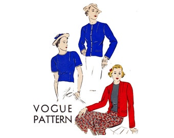 1930s Vintage Vogue Sewing Pattern Cardigan Jacket & Blouse Size 14 Bust 32 Vogue 7492 from 1936 30s top and jacket