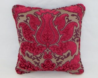 """Pink and Purple Chenille Throw Pillow Small 12"""" Square Luxurious Cut Velvet Cover and Insert Included Ready Ship"""