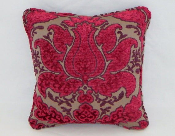 Pink and Purple Chenille Throw Pillow Small 12 Square