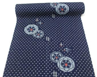 Japanese Kasuri Ikat Wool. Dark Indigo Blue Gray Red. Traditional Kimono Bolt of Fabric (Ref: 1684)