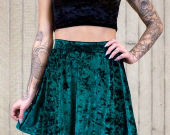 Enchanted Forest Velvet Skater Skirt (made to order)