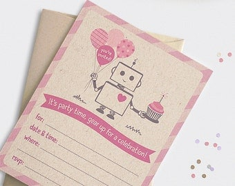 Robot Invitations, Set of 12 - 1st Birthday Invitations, Baby Shower - Printed Fill in, Brown Recycled Pink, Blue, Red, Purple, Orange