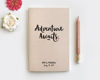 Wedding Gift for Couple, Adventure Awaits Personalized Notebook & Pencil, Travel Journal, Anniversary Engagement Gift, Personalized Journal