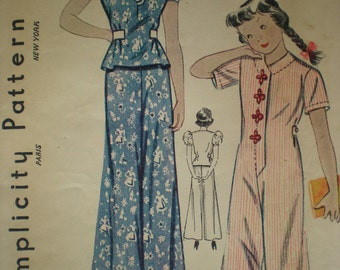 1930s Girl's Pant Suit or Pajamas Sewing Pattern 1334, Size 6, Bust 24, Waist 24, Factory Folded