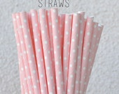 25 Baby Pink Paper Straws- Clearance Sale  -25 Baby Pink Tiny Dot Straws - Polka Dot Drinking Straws - Vintage Wedding Baby Shower