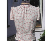 1940s style round neck flamingo blouse