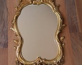 Vintage Syroco Hollywood Recency mirror - #4715 - rococo flowers, flourishes - gold with rose gold antiquing - vintage glamour