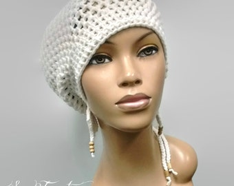 MADE TO ORDER Large White Crochet Slouch Hat / Dreadlock hat with drawstring and free crochet earrings