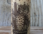 Succulent Cactus arrangement illustration on candle, henna style, unique candle gift