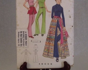 1970s Easy Junior Lady Miss Jumpsuit, Skirt & Sash: Butterick Pattern 5751 Size 16 Bust 38