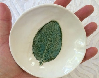 Leaf dish, small bowl, ring dish, spoonrest, coaster, ring bowl, jewelry dish, sage leaf, teal, ceramic bowl, pottery bowl, pottery ceramics