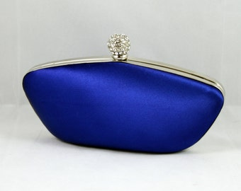 Royal blue box clutch - Something blue clutch
