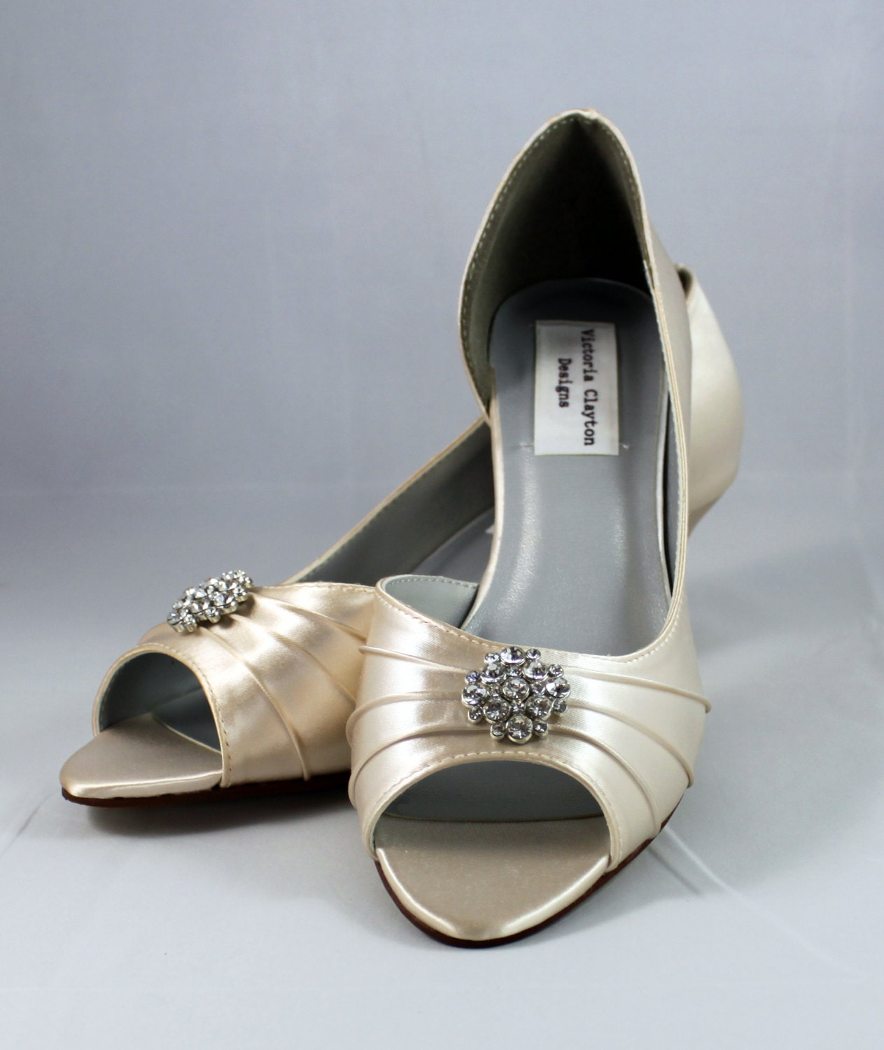 1 Inch Heels For Wedding: Champagne Wedding Shoes Low Heel 1.75 Inch By