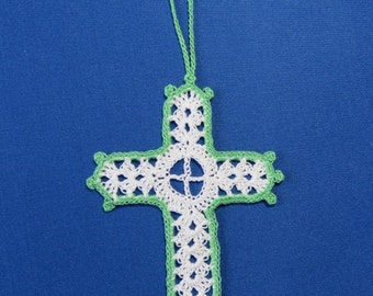 Lacy Heirloom Crochet Cross Bookmark, Place Marker, Wedding, Christening, Baptism, First Communion, Bible Reading, Religious, Green Edging