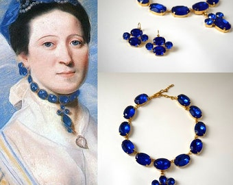 Reproduction 18th Century Necklace, Riviere Necklace, Collet Necklace, Historical Jewelry, Sapphire Jewelry, Reenactor , Georgian Paste