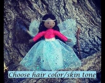 Fairy Doll, Flower Fairy, African American, Black Doll, Miniature Fairy Doll, Waldorf Fairy, Fairy Princess, Bendy Doll, Dark Skin Doll