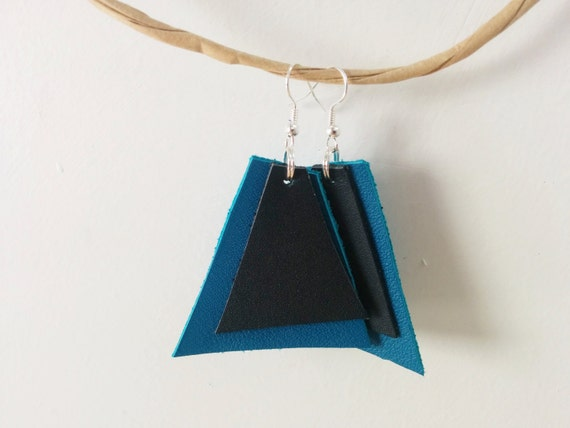 Drop earrings,leather earrings,blue earrings,triangle earrings,geometric jewelry,geometric earrings,dangle earrings,leather jewelry