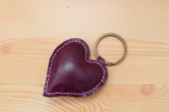 Leather keychain, leather keyring,heart keychain, heart keyring, wine heart keychain,purple heart keyring,wine heart leather,leather heart