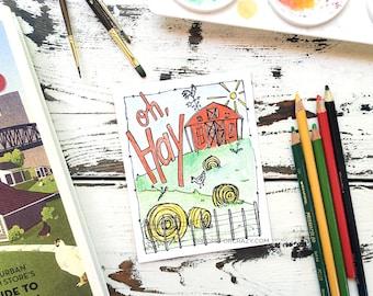 Coloring Postcard, Oh, Hey, handdrawn farm postcard