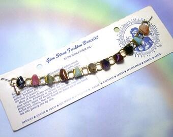 Tribal Ethnic Sounvenir Vintage Gemstone Bracelet, old souvenir bracelet, vintage tribal bracelet, Indian, Native American, The Tumble House