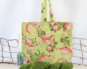 Knitting Bag: OOAK Flamingo Drawstring  Project Tote Bag