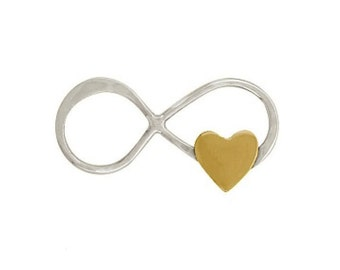 Silver Infinity and Heart Charm - Heart Charm - Infinity Charm