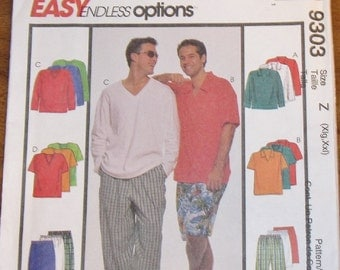 McCall's 9303 Mens Tee Top, Polo Shirt, Loungepants Pants, Shorts Easy Sewing Pattern Plus Size XL XXL Chest 46 48 50 52 Uncut Factory Folds